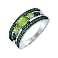 Серебряное кольцо с хризолитами и фианитами ДИ92011257