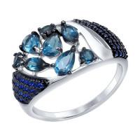 Серебряное кольцо с топазами и фианитами ДИ92011342