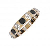Золотой браслет мужской с ониксами РЫ4004050