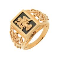 Золотая печатка с ониксами РЫ15153502