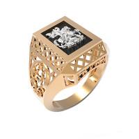 Золотая печатка с ониксами РЫ15143504