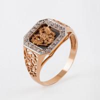 Золотая печатка с ониксами и фианитами РЫ15152501