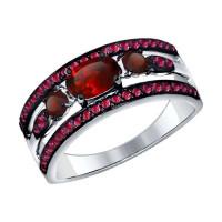 Серебряное кольцо с гранатами и фианитами ДИ92011259