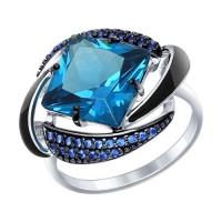 Серебряное кольцо с наноситалами, фианитами и эмалью ДИ92011300