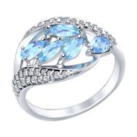 Серебряное кольцо с топазами и фианитами ДИ92011363