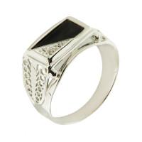 Серебряная печатка с ониксами и фианитами РЫ1500150С