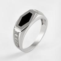 Серебряная печатка с ониксами и фианитами РЫ1510850С