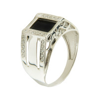 Серебряная печатка с ониксами и фианитами РЫ1511950С