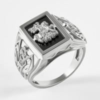 Серебряная печатка с ониксами РЫ15153504С