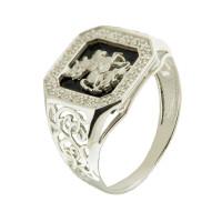 Серебряная печатка с ониксами и фианитами РЫ15157504С