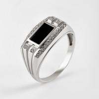 Серебряная печатка с ониксами и фианитами РЫ1518750С