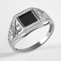 Серебряная печатка с ониксами и фианитами РЫ1522650С