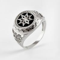 Серебряная печатка с ониксами РЫ15256502С