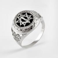 Серебряная печатка с ониксами РЫ15256506С