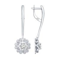 Серебряные серьги подвесные с хрусталем и фианитами