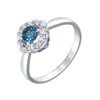 Серебряное кольцо с топазами и фианитами ДИ92011387
