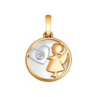 Золотая подвеска с бриллиантом, стеклом и перламутрами ДИ1030536