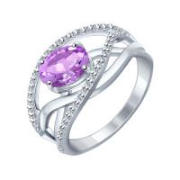 Серебряное кольцо с аметистами ДИ92010592