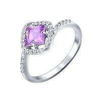 Серебряное кольцо с аметистами ДИ92011059