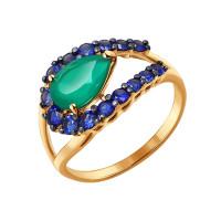 Золотое кольцо с хризопразами и сапфирами ДИ714187