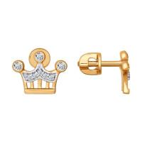 Золотые серьги гвоздики с фианитами ДИ026661