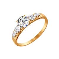 Золотое кольцо с сваровски ДИ81010194