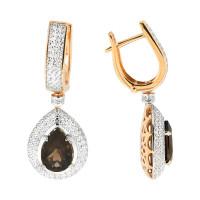 Золотые серьги подвесные с топазами НЮ10202020471
