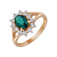 Золотое кольцо с бриллиантами и изумрудом гтом ЛФР01-Д-34115-ЕС