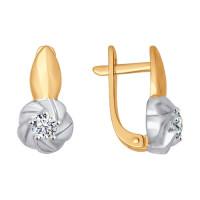 Золотые серьги с фианитами ДИ026898