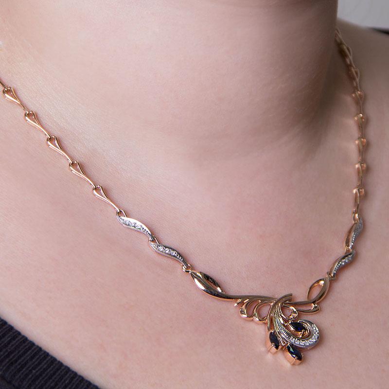 Золотое колье с бриллиантами и сапфирами ЗСЦ14050218