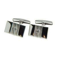Серебряные запонки с фианитами 8С141002