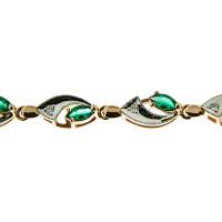 Золотой браслет с бриллиантами и изумрудами ЗСБ14060105