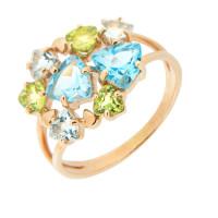Золотое кольцо с аметистами и топазами ГС1353865