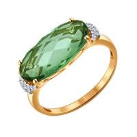 Золотое кольцо с кварцем и фианитами ДИ714042