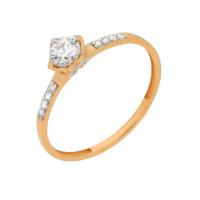 Золотое кольцо с сваровски и фианитами