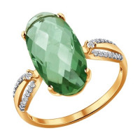Золотое кольцо с кварцем и фианитами ДИ714039