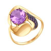 Золотое кольцо с аметистами и аметистами фианитами ДИ714664
