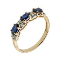 Золотое кольцо с бриллиантами и корундами сапфирами синтами ХС050101824