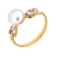 Золотое кольцо с жемчугом и фианитами ЮЦК071