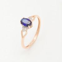 Золотое кольцо с сапфиром гтом и бриллиантами ХС050111024