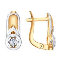 Золотые серьги с фианитами ДИ027509