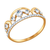 Золотое кольцо с фианитами ДИ017414