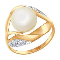 Золотое кольцо с жемчугом и фианитами ДИ791012