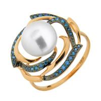 Золотое кольцо с жемчугом и фианитами ДИ791018