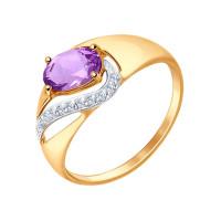 Золотое кольцо с аметистами и фианитами ДИ714673