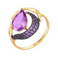 Золотое кольцо с аметистами и аметистами фианитами ДИ714692