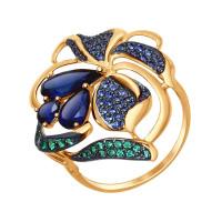 Золотое кольцо с корундами, фианитами и сапфирами фианитами ДИ714708
