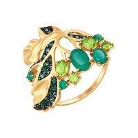 Золотое кольцо с агатами, фианитами и хризолитами