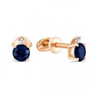 Золотые серьги гвоздики с бриллиантами и сапфирами ЛФЕ01-Д-33501-СА