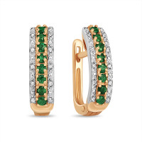 Золотые серьги с бриллиантами и изумрудами ЛФЕ01-Д-33607-ЕМ